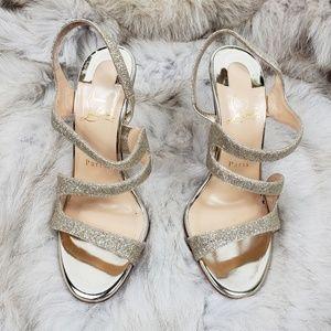 Louboutin Gold Glitter Strappy Heels Sandal 37